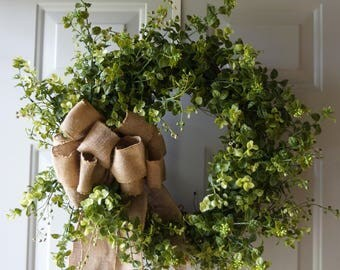 Door Wreath, Green Wreath Boxwood Wreath, Eucalyptus Wreath Rustic Wreath Handmade