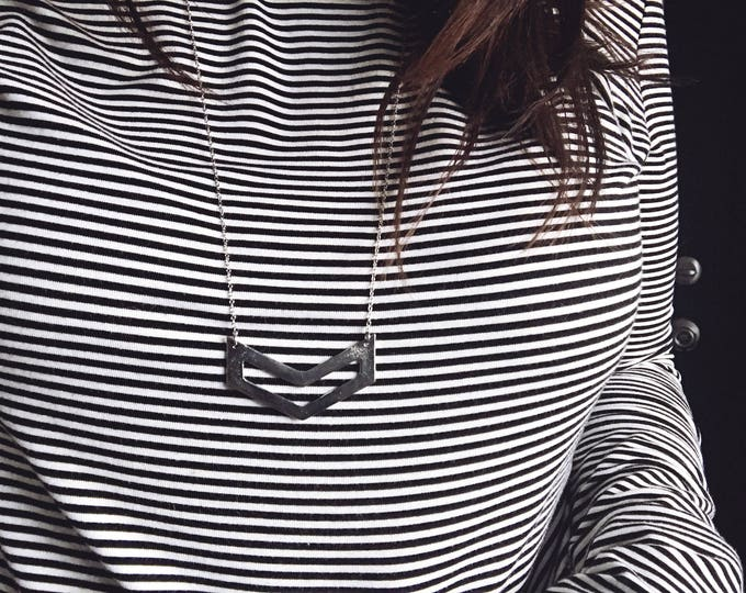 Ready-to-Ship Item // Large Silver Chevron Necklace