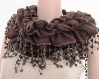 CHOCOLATE FRILLY SCARF