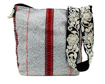 SALE Shoulder bag hand woven and embroidered by fair trade artisans in Peru