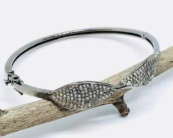 10% Pave diamond knot bangle bracelet set in Sterling silver 925. Genuine authentic diamonds. Openable bangle. Diamond Carat-1.90