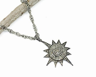 10% Pave Diamond sunburst/ star Pendant charm necklaces  set in sterling silver(92.5). Length- 1.75 inch. Carat wt-1.39. Authentic diamonds