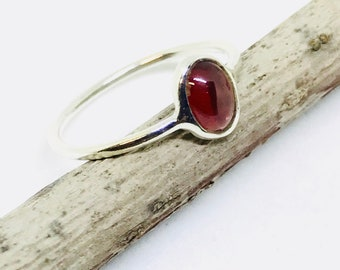Garnet ring set in sterling silver (92.5). Size- 5, 6, 7, 8. Natural authentic red garnet stone .