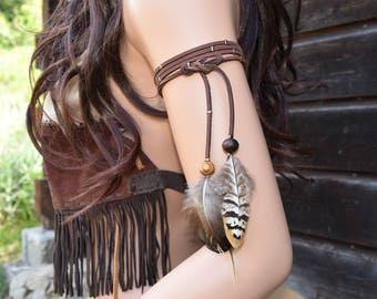 leather arm bracelet handcrafted Indian style feather