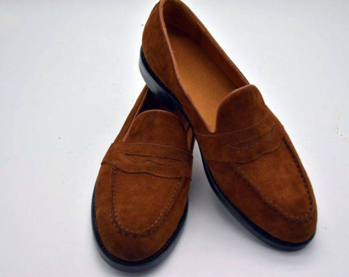 Suede Handmade Goodyear Welted Men's Loafer Shoes