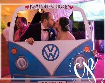 Car photo booth frame | VW Bus photo booth prop | Wedding photo booth | Selfie frame | Photo prop | Printed
