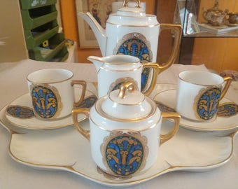 Art Nouveau Mocha set Carl Auveri for two persons, tray two places, teapot milk and sugar.