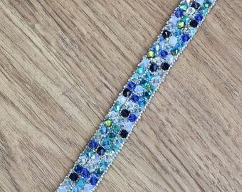 Swarovski & sterling silver woven 3-strand bracelet