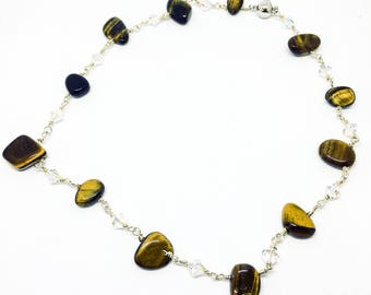 Tiger's Eye, Swarovski crystal and sterling silver necklace