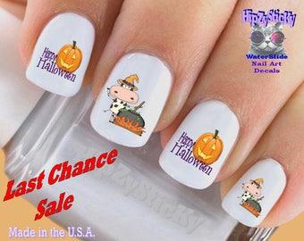 Cow nail art decals etsy halloween nail decals happy halloween cow pumpkin nail art set743h waterslide nail prinsesfo Choice Image