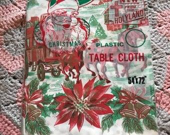 NIP Vintage Christmas Plastic Tablecloth