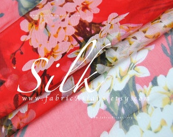 Red silk chiffon by the yard floral fabric