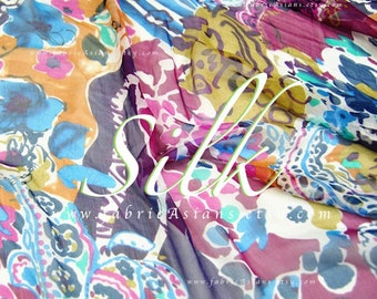 Abstract colorful silk chiffon by the yard