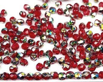 300 Light Siam Vitrail coated 6mm, Preciosa Czech Fire Polished Round Faceted Glass Beads, Czech Glass Fire Polish Beads, loose red beads