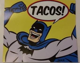"Batman Tacos! 3M Vinyl Sticker 4 1/2"" x 5"""