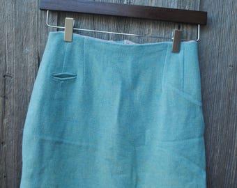 "Super Cute Vintage 1960's Baby Blue Wool Pencil Skirt Waist 26"" Carol Brent"