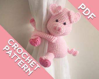 Piggy curtain tie back crochet PATTERN , tieback, left or right side crochet pattern PDF instant download amigurumi PATTERN