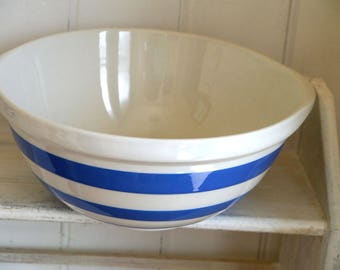Vintage Cornishware  T. G. Green Blue & White Large Mixing Bowl with Green Shield Backstamp