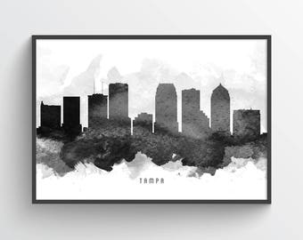 Tampa Skyline Poster, Tampa Citycape, Tampa Art, Tampa Decor, Home Decor, Gift Idea, USFLTA11P