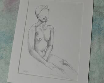 Figure Study, Original Figurative Drawing, Matted for 8x10 Frame