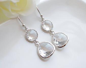 Clear stone drop earrings in silver, Clear earrings, Bridesmaid jewelry, Everyday earrings, Wedding earrings, Bridesmaid gift
