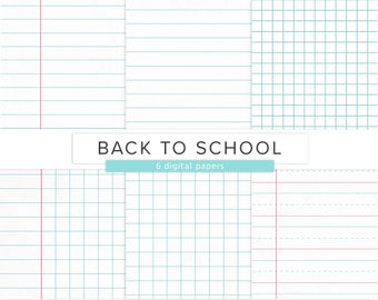 School Paper / Digital Paper / Back To School Raster Graph Lined Paper Texture Printable Paper Pattern / INSTANT DOWNLOAD
