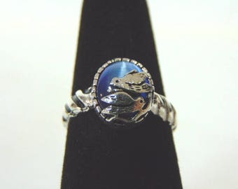 Womens Vintage Estate Sterling Silver Dumortierite Ring w/ Birds 2.6g E2160