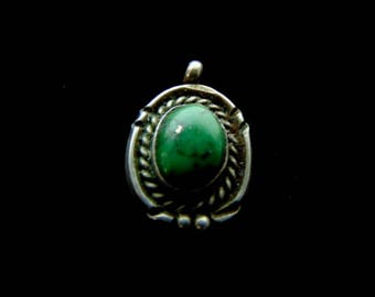 Womens Sterling Silver Pendant w/ Malachite 4.0g E2164