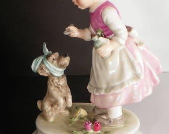 Goebel Lore Blumenkinder 253 Figurine The Patient 1972 Girl Helping Puppy TMK 5