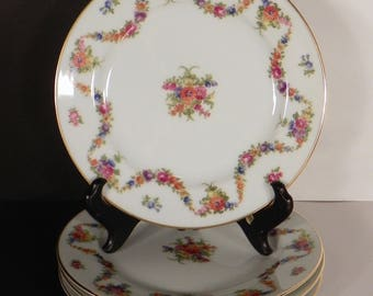Mikado Aloha Bread and Butter Plate (s) LOT OF 4 Made in Occupied Japan Floral Swags