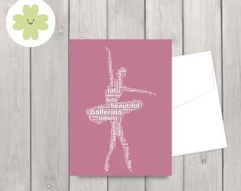 Ballerina word art card, dancer card, for her, customised card
