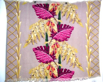 Barkcloth 2 Pieces Vintage Fabric Tropical Remants
