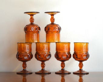 Vintage Amber Wine Glasses Goblets Kings Crown Thumbprint Tiffin Glass Goblets Indiana Glass Vintage Mid Century Barware