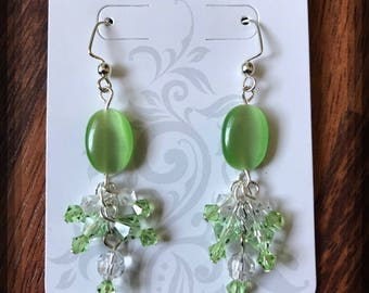 Green Swarovski earrings, Green Swarovski earrings, birthstone jewelry, peridot crystal earrings, August birthstone
