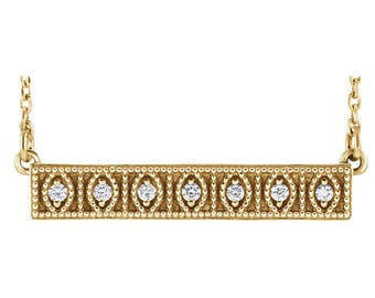 Any Color 14K Gold Vintage Style Migraine Diamond Bar Necklace