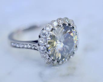 14K White Gold Large Round Moissanite And Diamond Halo Engagement Ring