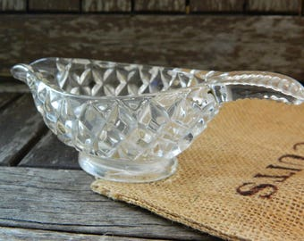 Vintage Cut Glass Small Sauce Dish/Gravy Boat