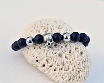 onyx silver for bikers or rockers hematite skull bracelet
