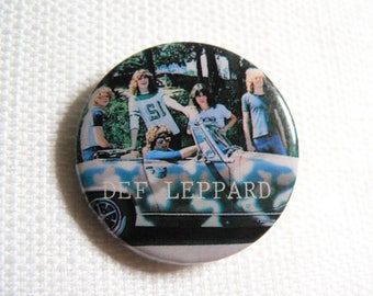 RARE Vintage 80s Early Def Leppard Pin / Button / Badge