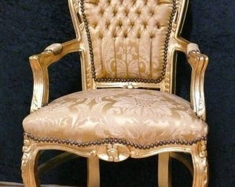 Baroque armchair, gold, Brocade upholstery ornament