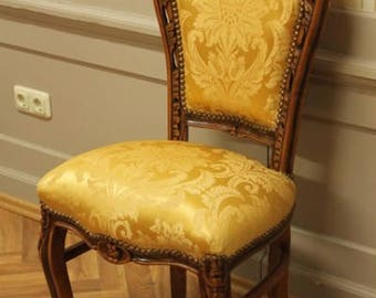 Dining room chair, Baroque style, gold-coloured fabric