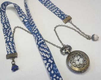 Liberty Blue & white Pocket Watch necklace