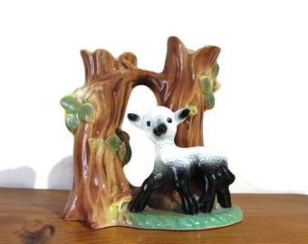Hornsea pottery lamb vase, vintage vase, Hornsea pottery 583, vintage lamb, vintage pottery,