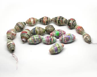 Mix of multicolor paper beads, DIY, Eco-friendly, Destash, Craft supplies, Boho chic components, Jewelry supplies,