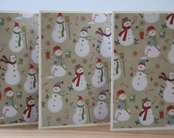 12 Snowman Christmas Cards.  Snowman Note Cards. Winter Card Set.  Snowman Thank You Cards.  Snowman Gift.  Snowman Party