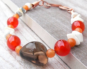 Carnelian, Howlite, Red Aventurine, and Smoky Quartz Bracelet with Handcrafted Copper Clasp ~ 7.25 inches
