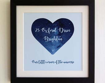 """FRAMED Personalised Address Print, 2 Colours to choose from, 10""""x10"""" black frame, Housewarming Gift, Mother's Day, Birthday, Picture Gift"""