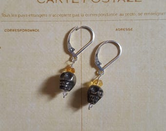 Gorgeous Pyrite Skulls, White Topaz and Citrine Leverback Earrings 925 Sterling Silver