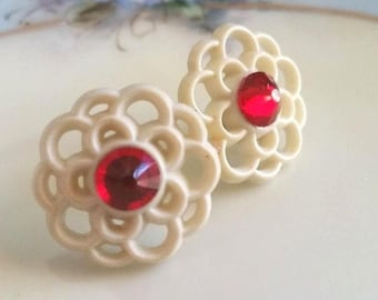 """Vintage 1950s Button Earrings Lacy Cream Red Crystal Rhinestone Post Back 3/4"""""""