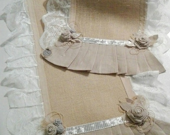 Table runner on order, canvas Burlap, linen, lace, raffia and pearls